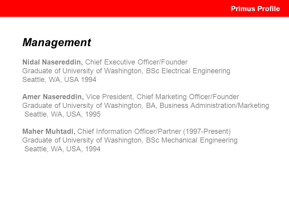 Management Primus Profile Primus Profile