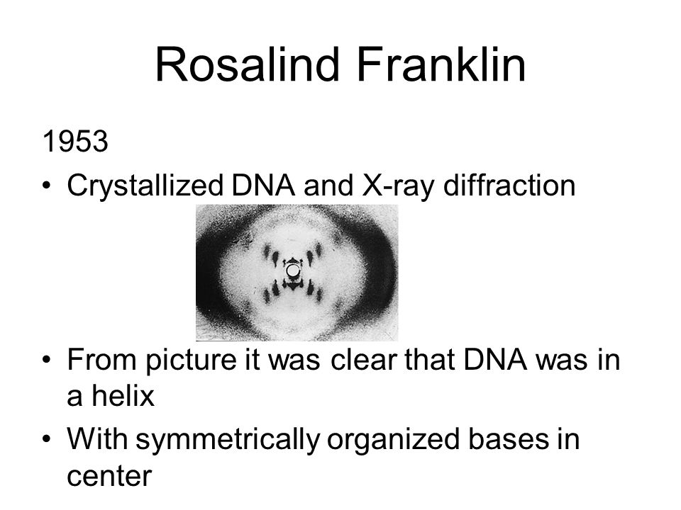 Rosalind Franklin 1953 Crystallized DNA and X-ray diffraction