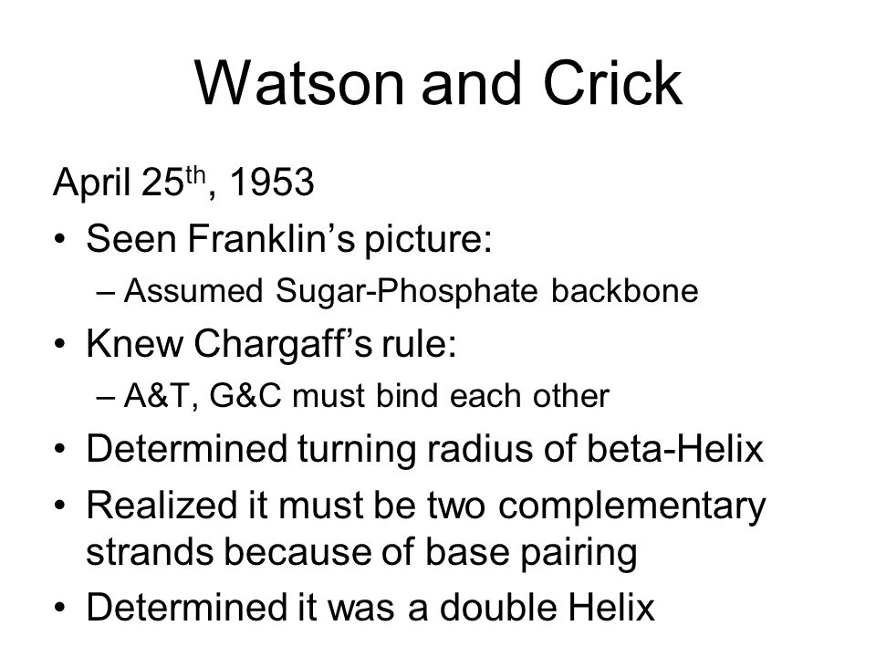 Watson and Crick April 25th, 1953 Seen Franklin's picture: