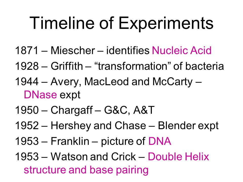 Timeline of Experiments