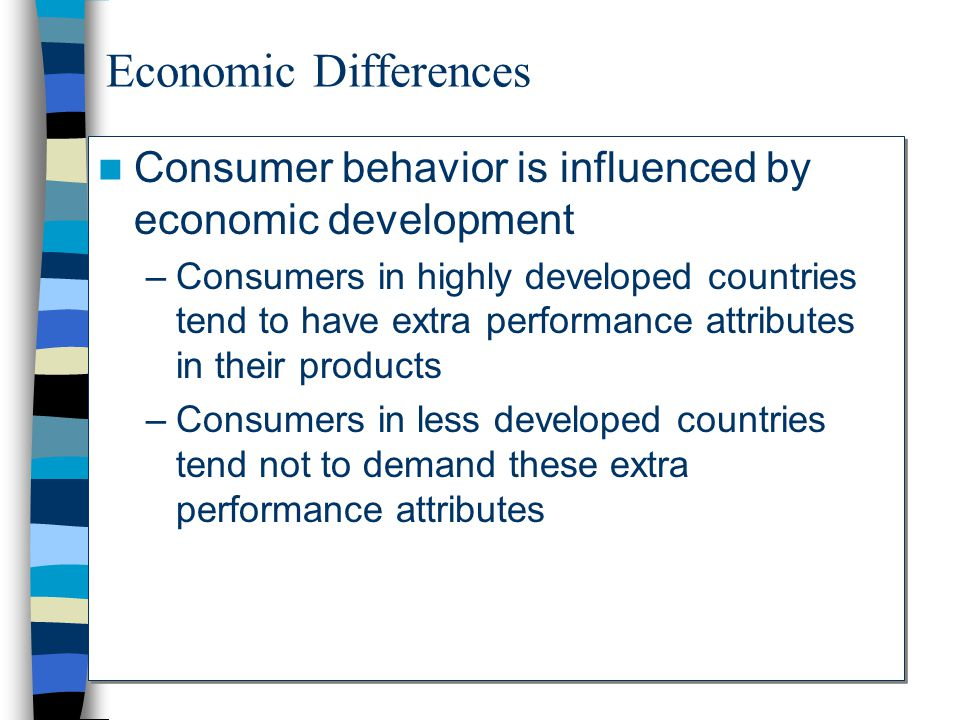 Economic Differences Consumer behavior is influenced by economic development.