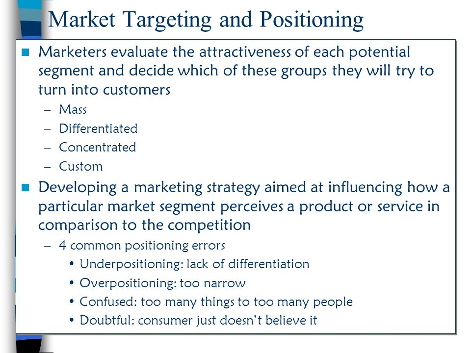 Market Targeting and Positioning