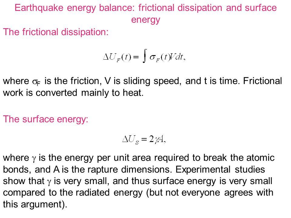 Earthquake energy balance: frictional dissipation and surface energy