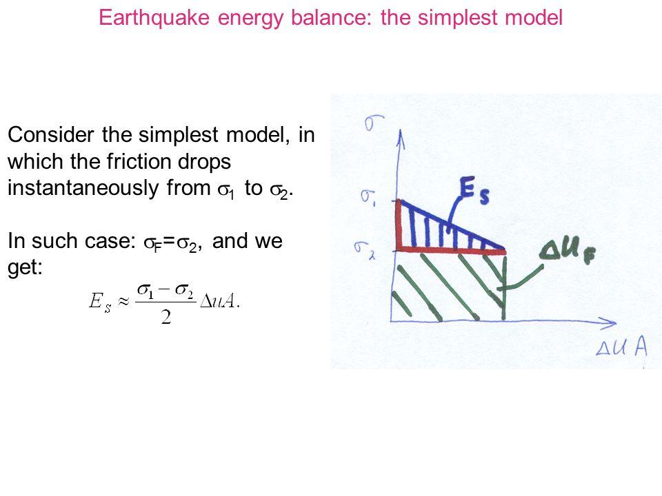 Earthquake energy balance: the simplest model