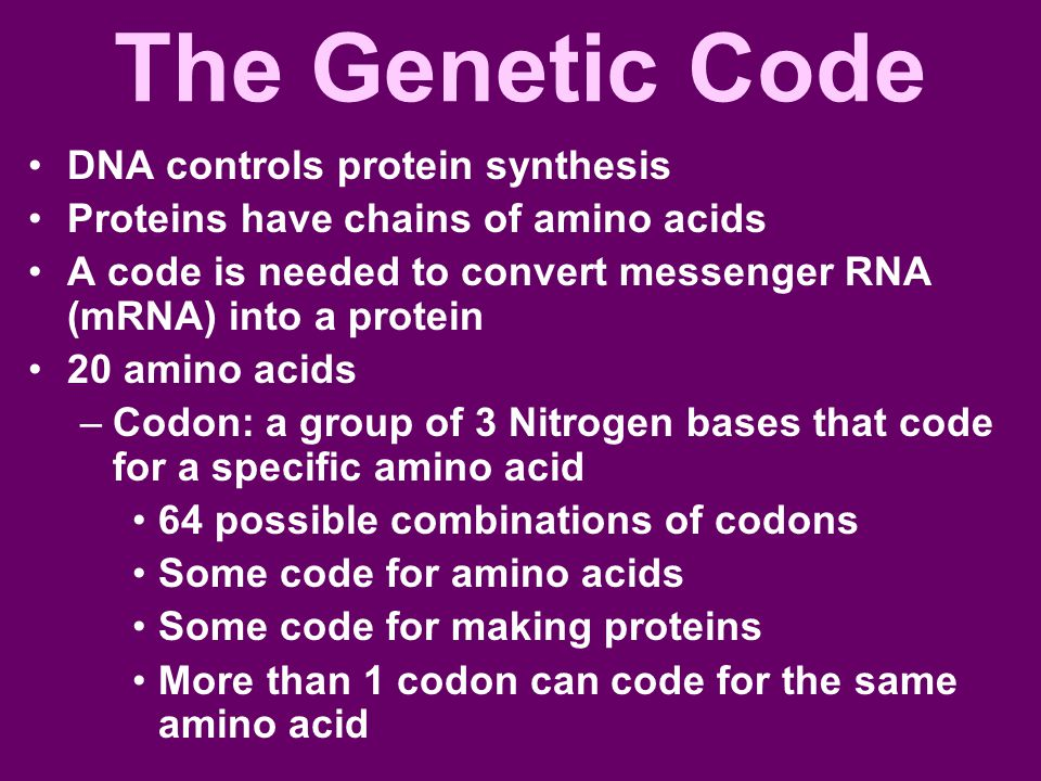 The Genetic Code DNA controls protein synthesis