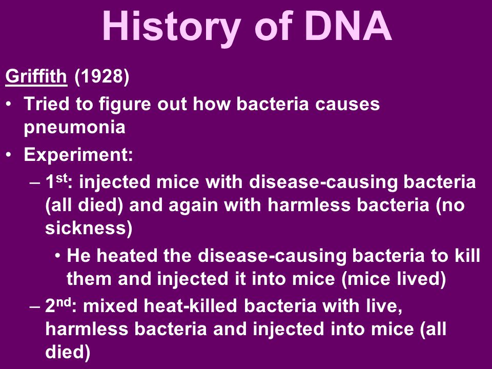 History of DNA Griffith (1928)