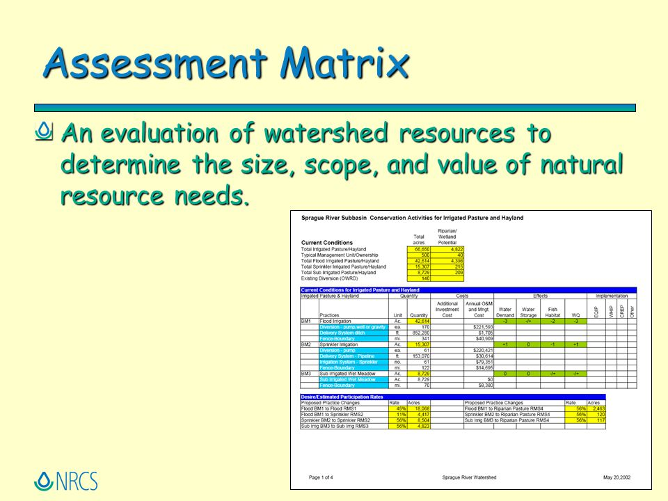 Assessment Matrix An evaluation of watershed resources to determine the size, scope, and value of natural resource needs.