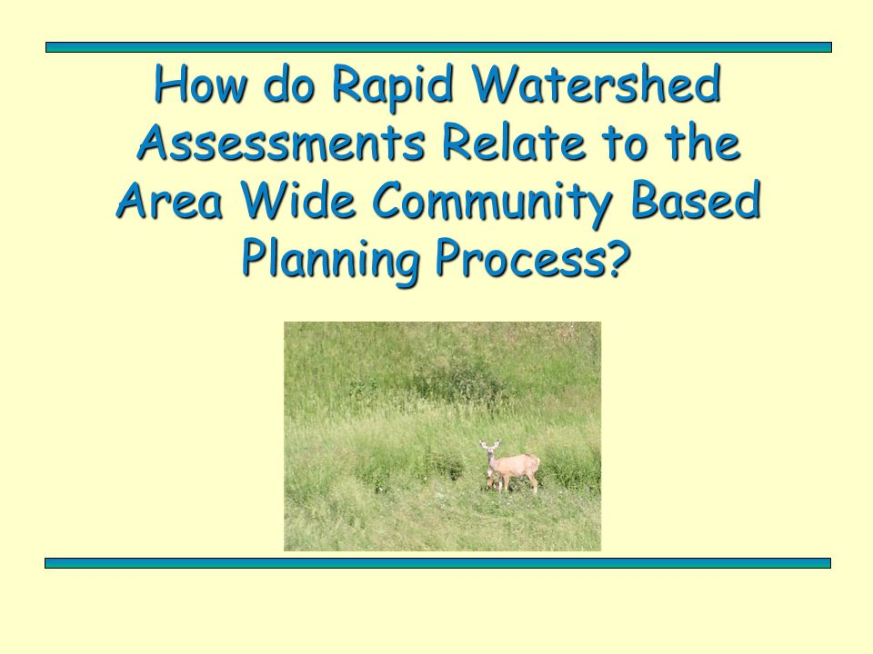 How do Rapid Watershed Assessments Relate to the Area Wide Community Based Planning Process