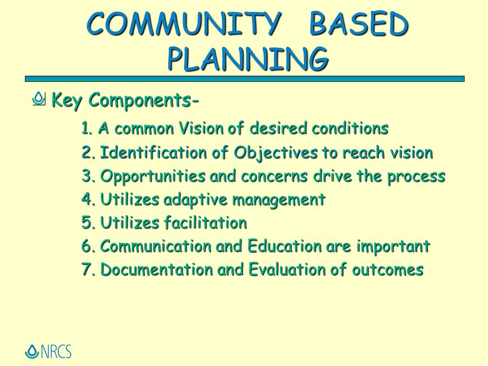 COMMUNITY BASED PLANNING