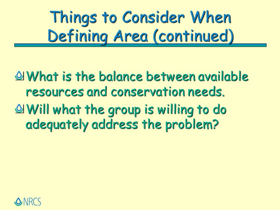 Things to Consider When Defining Area (continued)