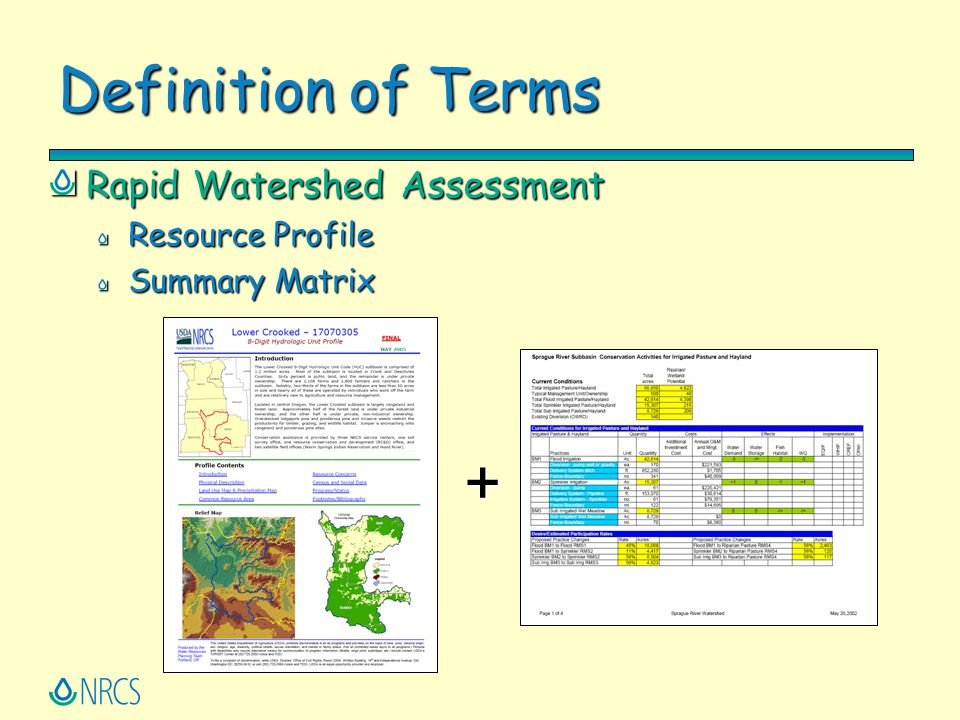 + Definition of Terms Rapid Watershed Assessment Resource Profile