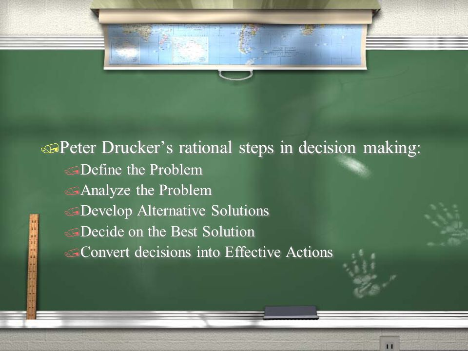 Peter Drucker's rational steps in decision making: