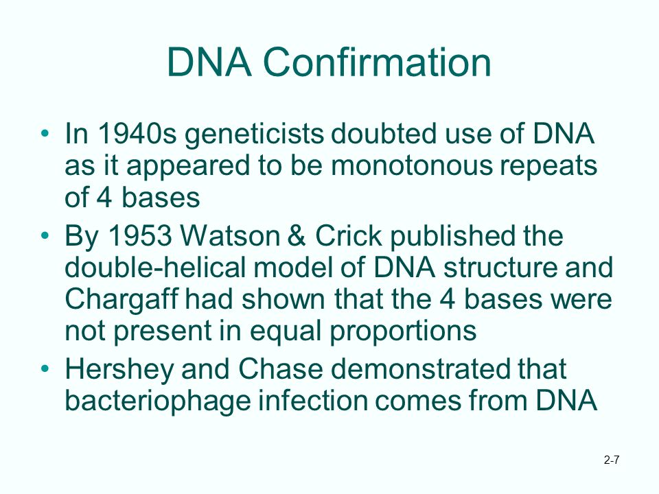 DNA Confirmation In 1940s geneticists doubted use of DNA as it appeared to be monotonous repeats of 4 bases.