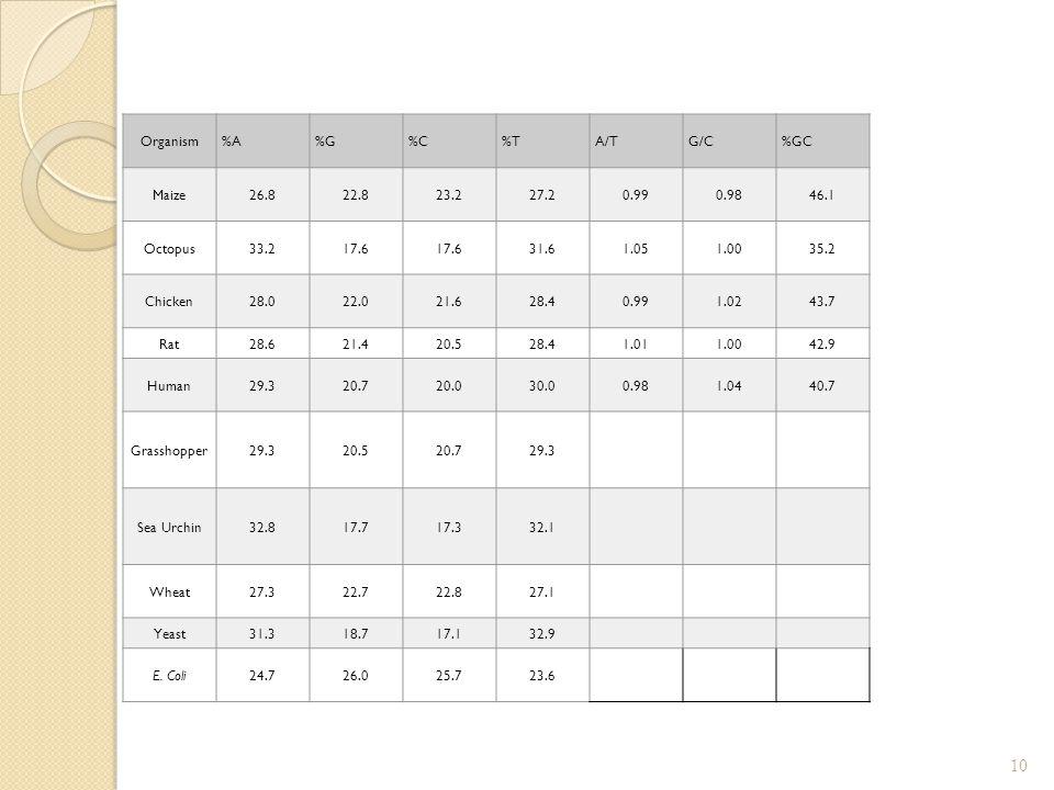 Organism %A. %G. %C. %T. A/T. G/C. %GC. Maize. 26.8. 22.8. 23.2. 27.2. 0.99. 0.98. 46.1.