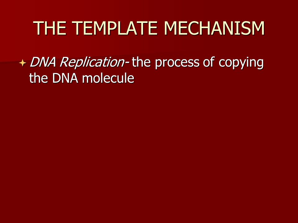 THE TEMPLATE MECHANISM