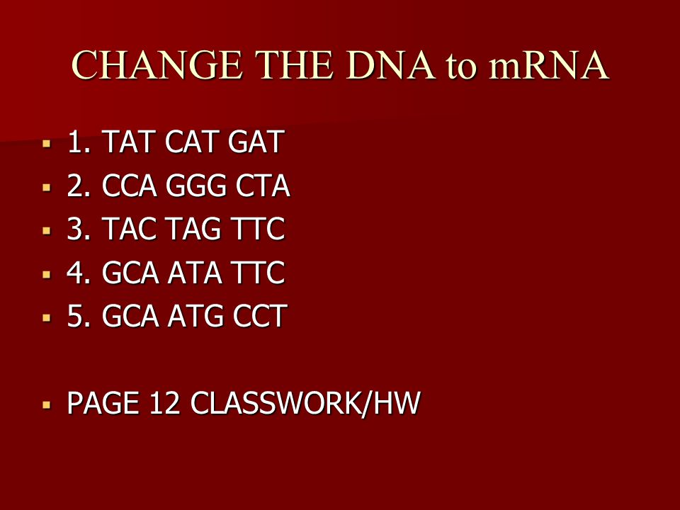 CHANGE THE DNA to mRNA 1. TAT CAT GAT 2. CCA GGG CTA 3. TAC TAG TTC