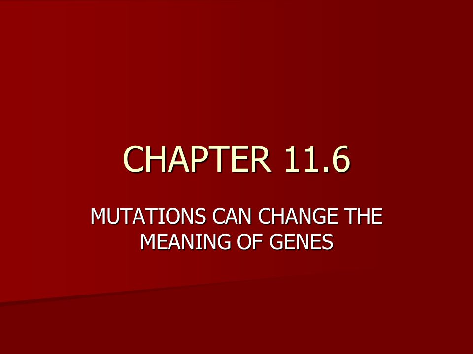 MUTATIONS CAN CHANGE THE MEANING OF GENES