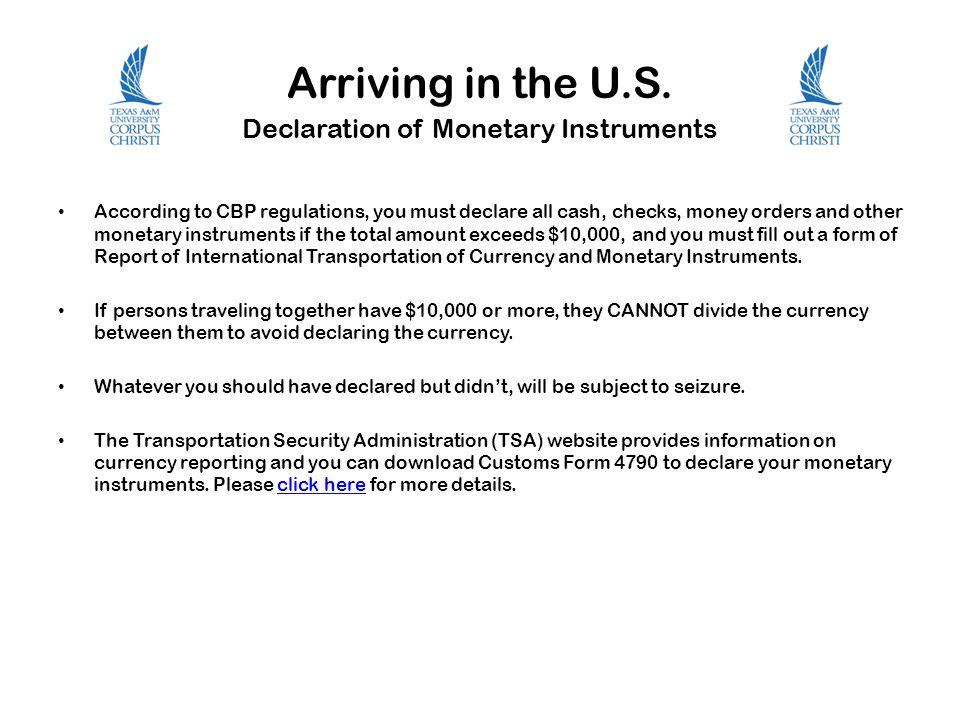 Arriving in the U.S. Declaration of Monetary Instruments