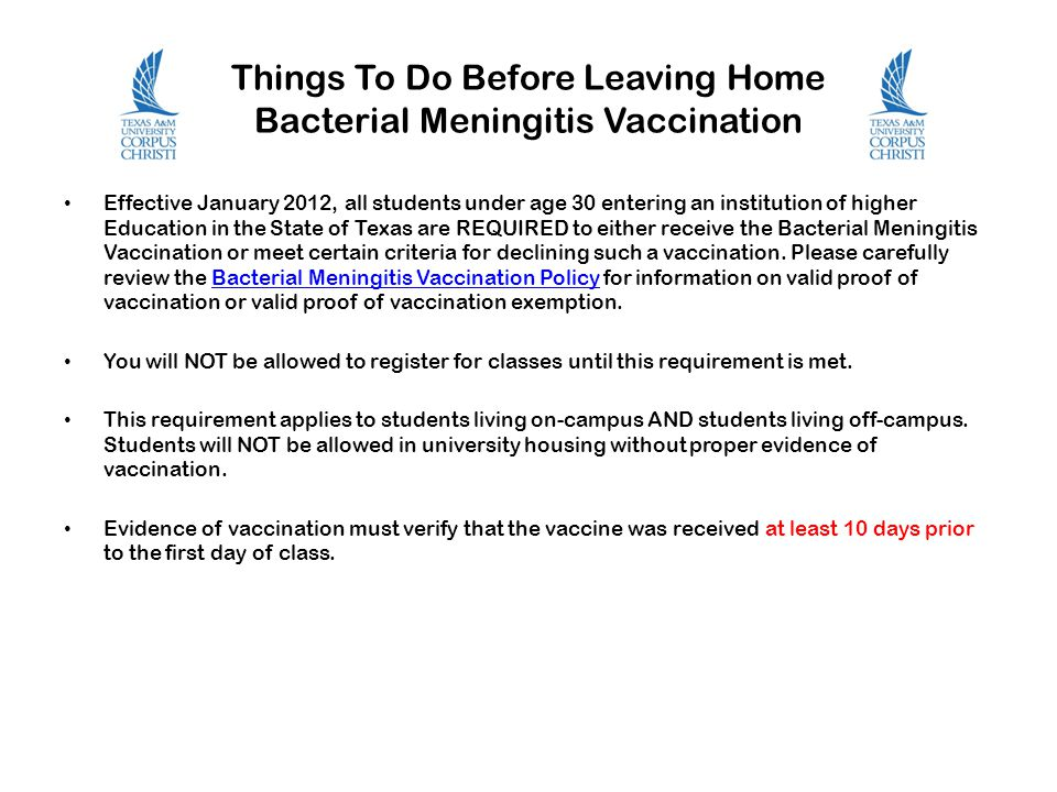 Things To Do Before Leaving Home Bacterial Meningitis Vaccination