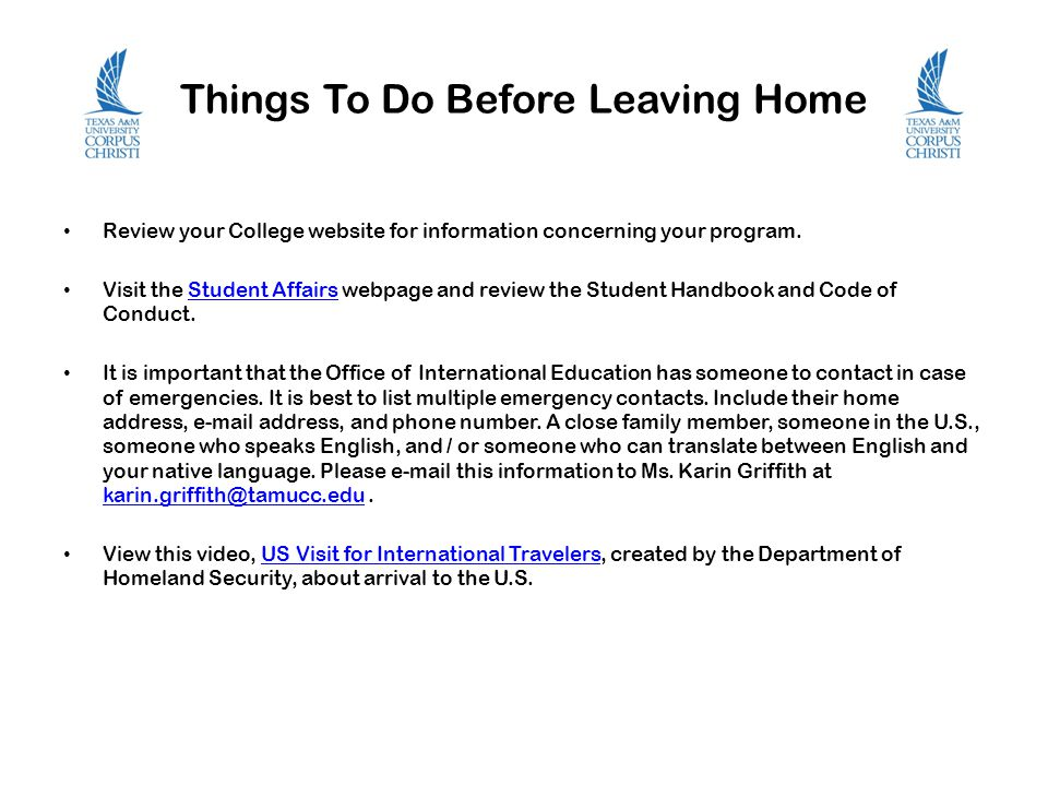 Things To Do Before Leaving Home