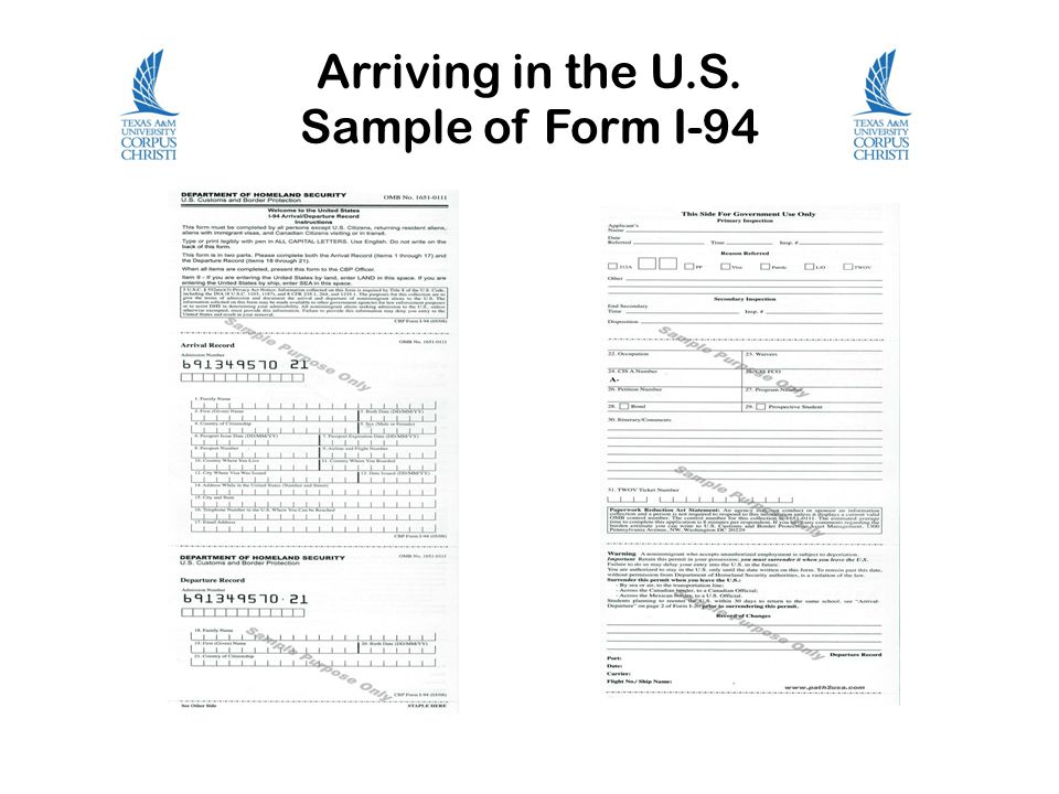 Arriving in the U.S. Sample of Form I-94