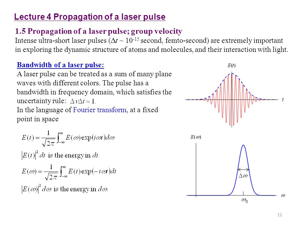 Lecture 4 Propagation of a laser pulse