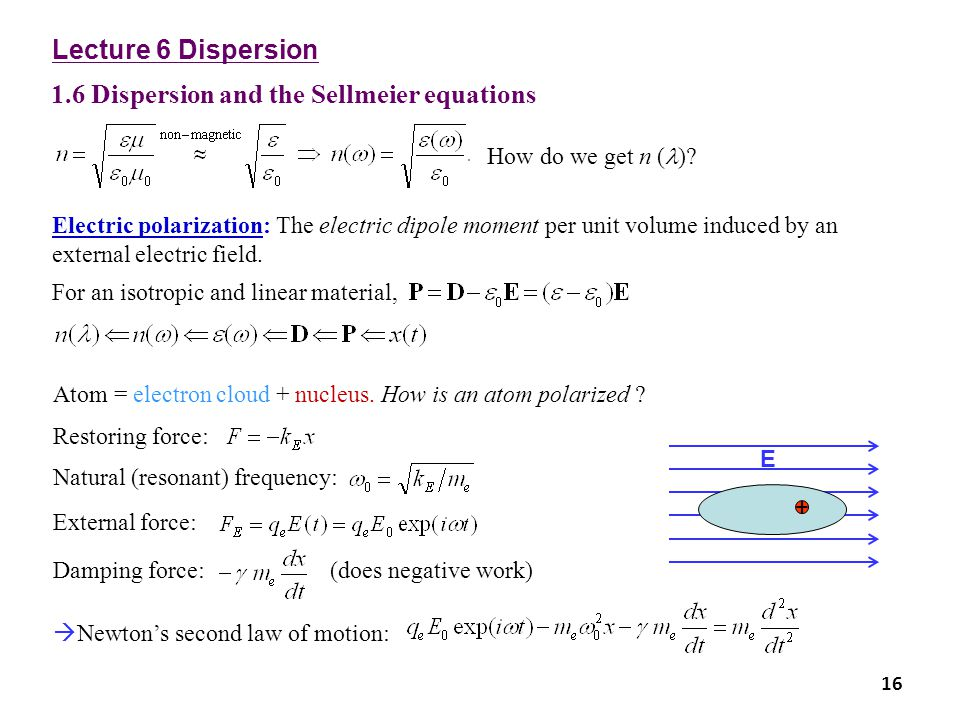 1.6 Dispersion and the Sellmeier equations