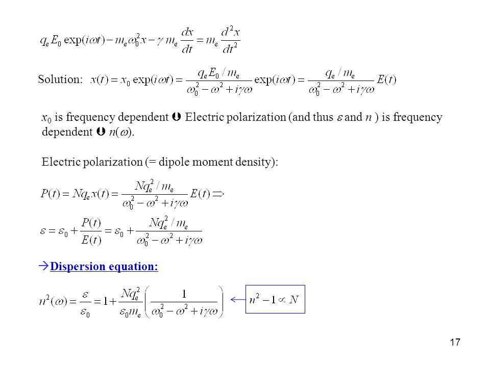 Solution: x0 is frequency dependent  Electric polarization (and thus e and n ) is frequency dependent  n(w).
