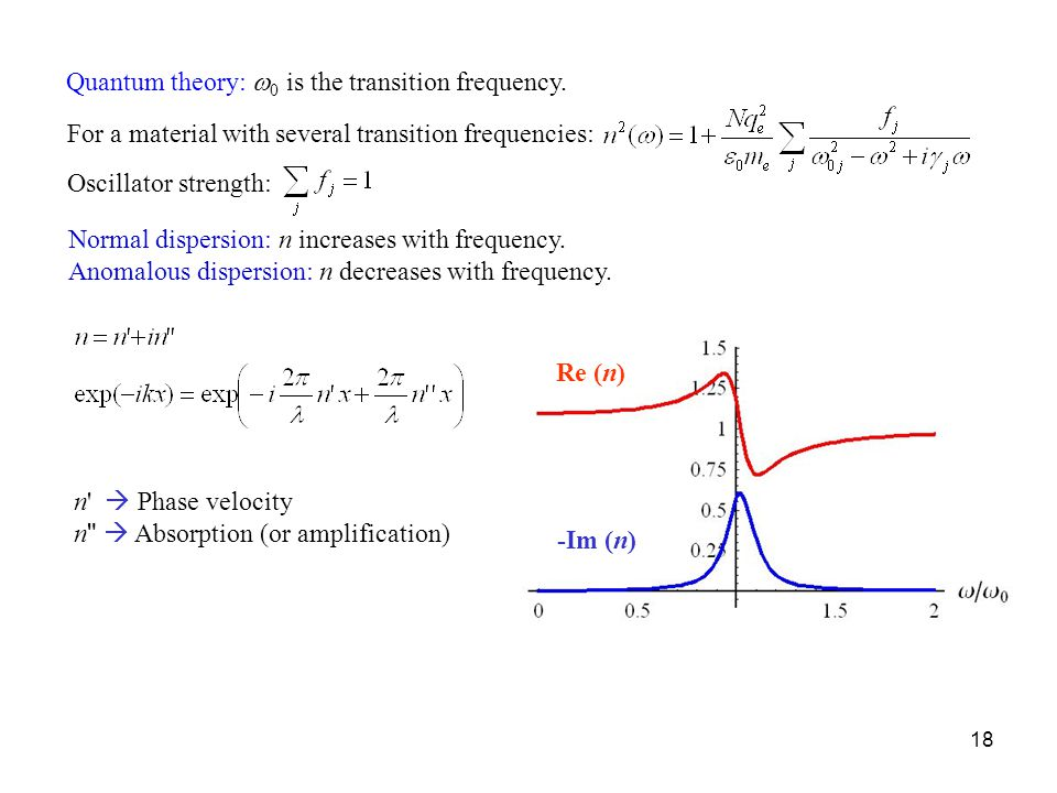 Quantum theory: w0 is the transition frequency.