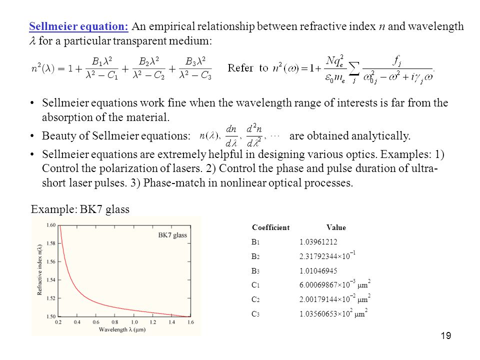 Beauty of Sellmeier equations: are obtained analytically.