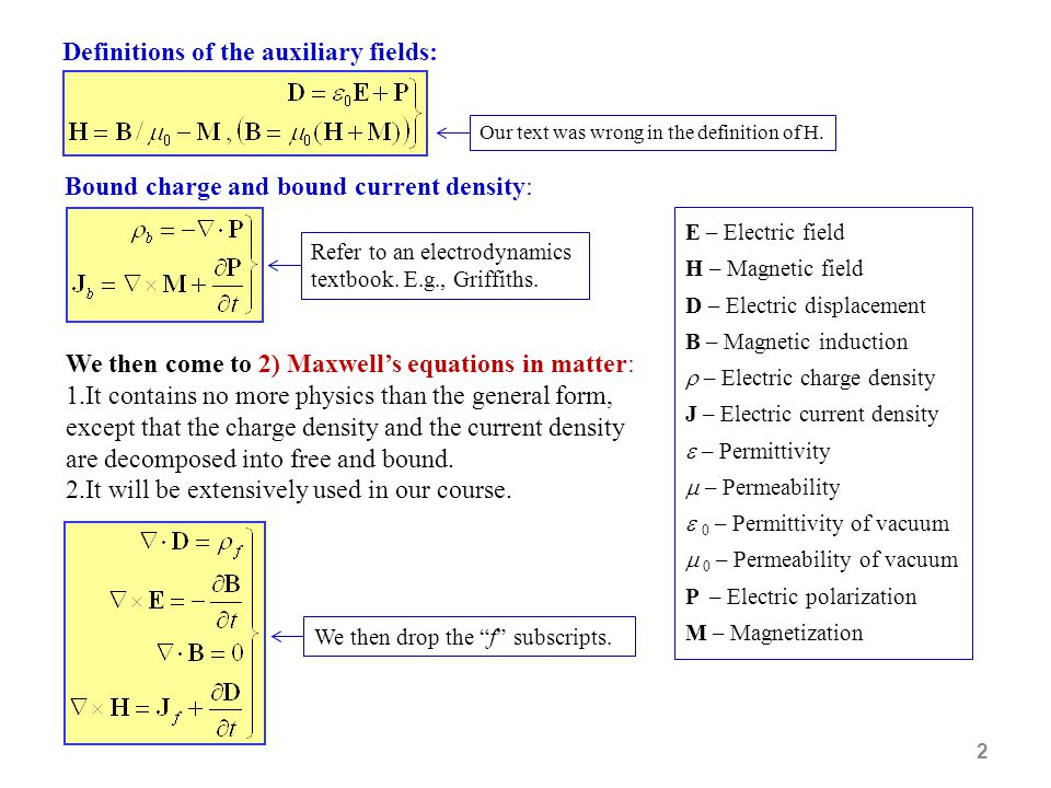 Definitions of the auxiliary fields: