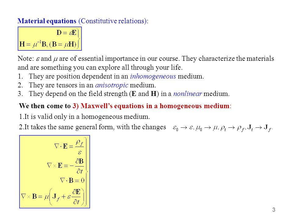 Material equations (Constitutive relations):
