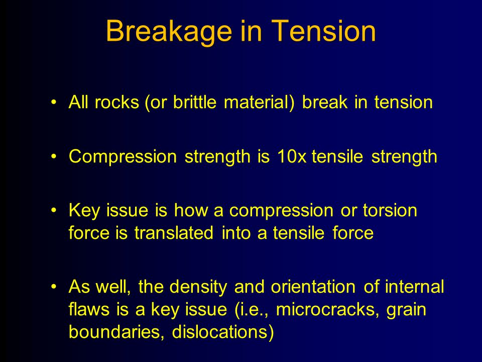 Breakage in Tension All rocks (or brittle material) break in tension