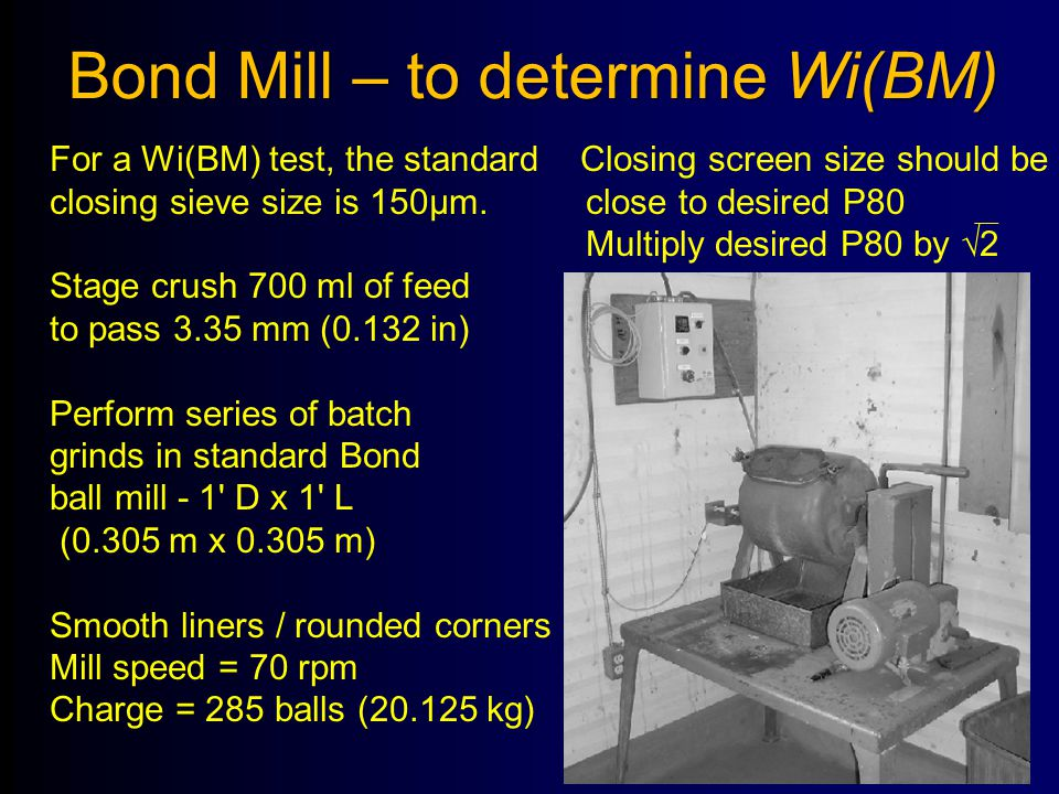 Bond Mill – to determine Wi(BM)