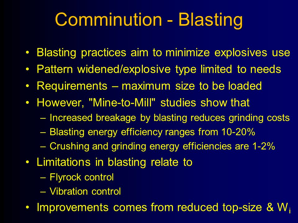 Comminution - Blasting