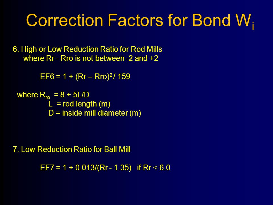 Correction Factors for Bond Wi