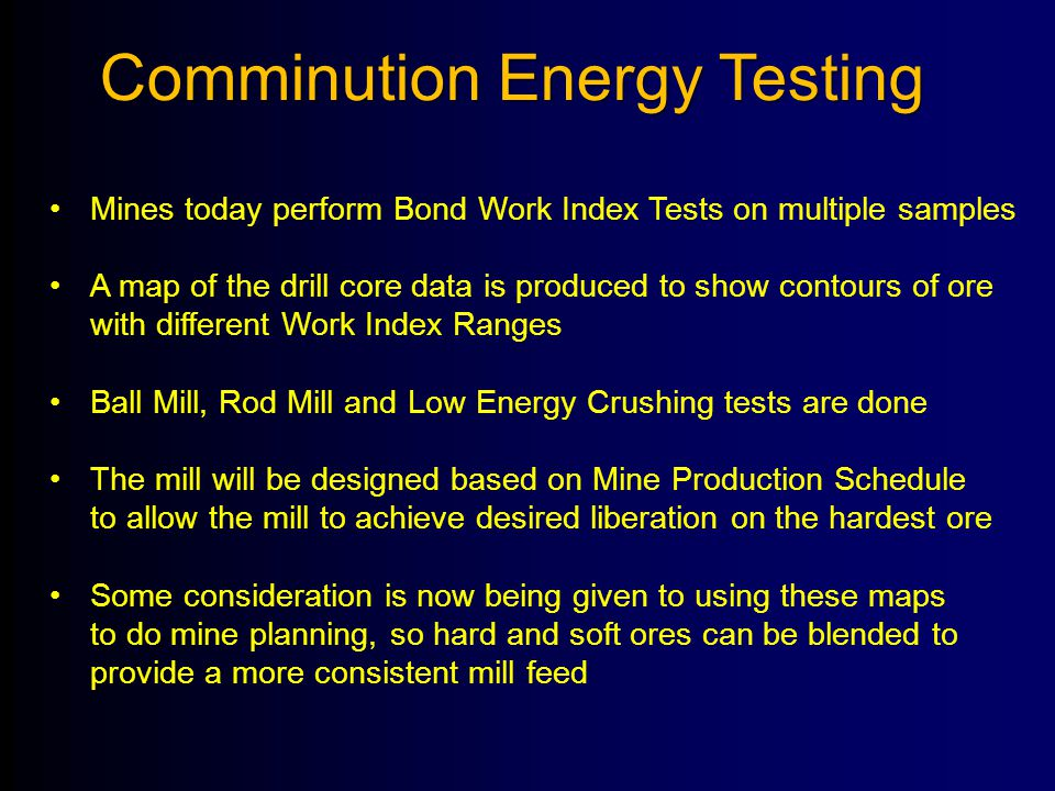Comminution Energy Testing
