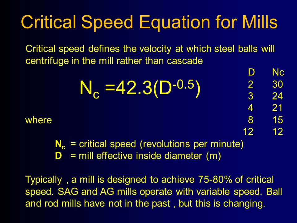 Nc =42.3(D-0.5) Critical Speed Equation for Mills