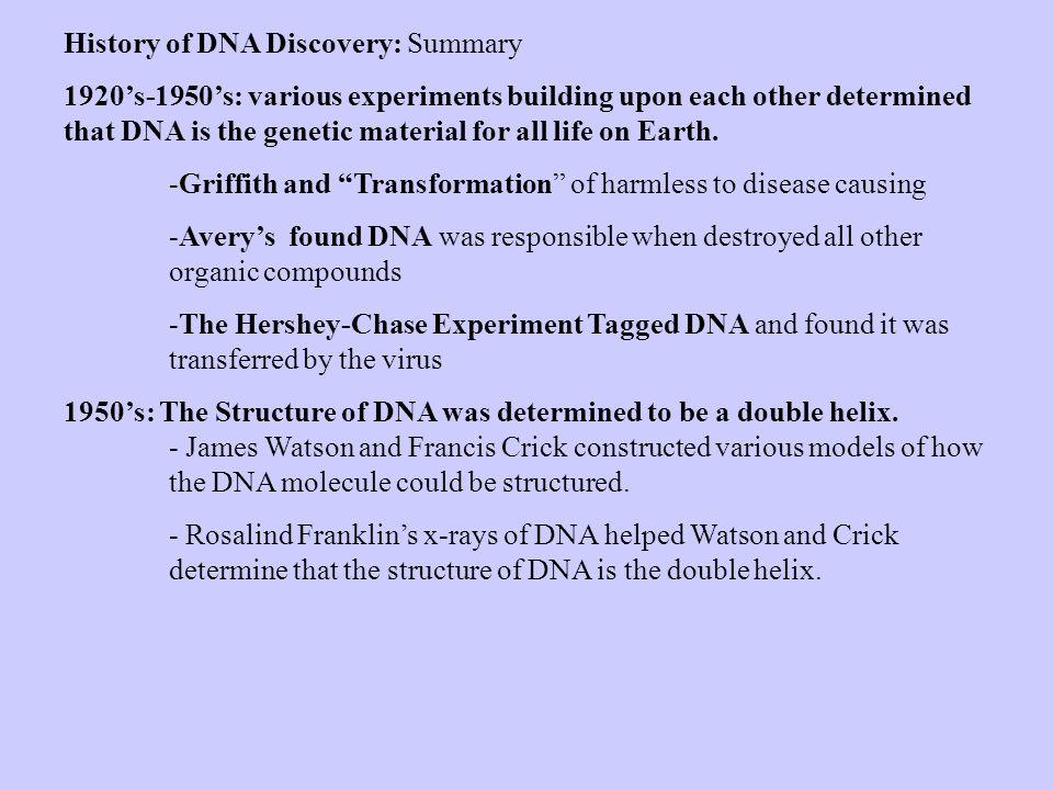 History of DNA Discovery: Summary