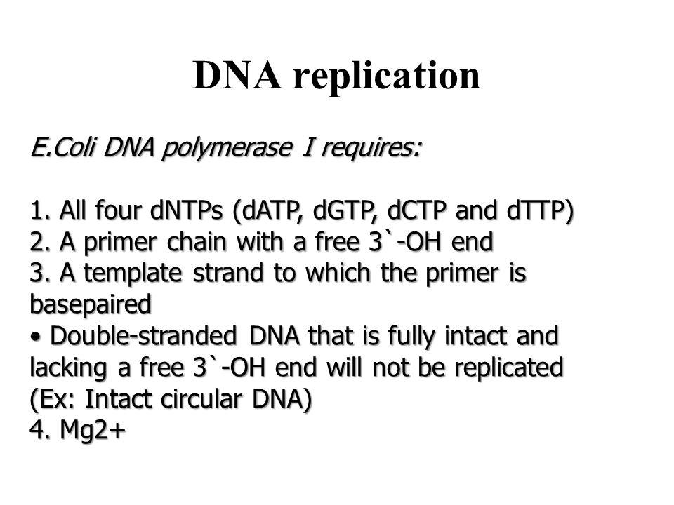 DNA replication E.Coli DNA polymerase I requires: