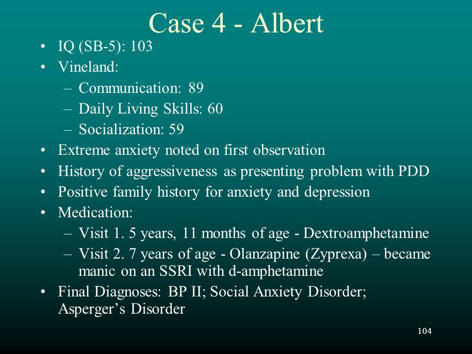 Case 4 - Albert IQ (SB-5): 103 Vineland: Communication: 89