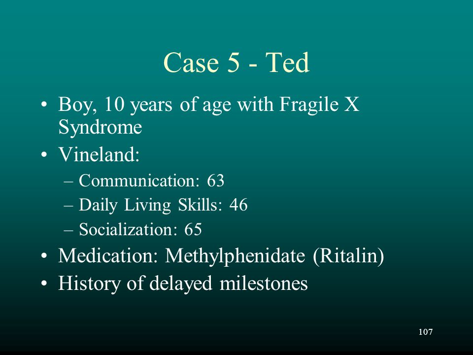 Case 5 - Ted Boy, 10 years of age with Fragile X Syndrome Vineland: