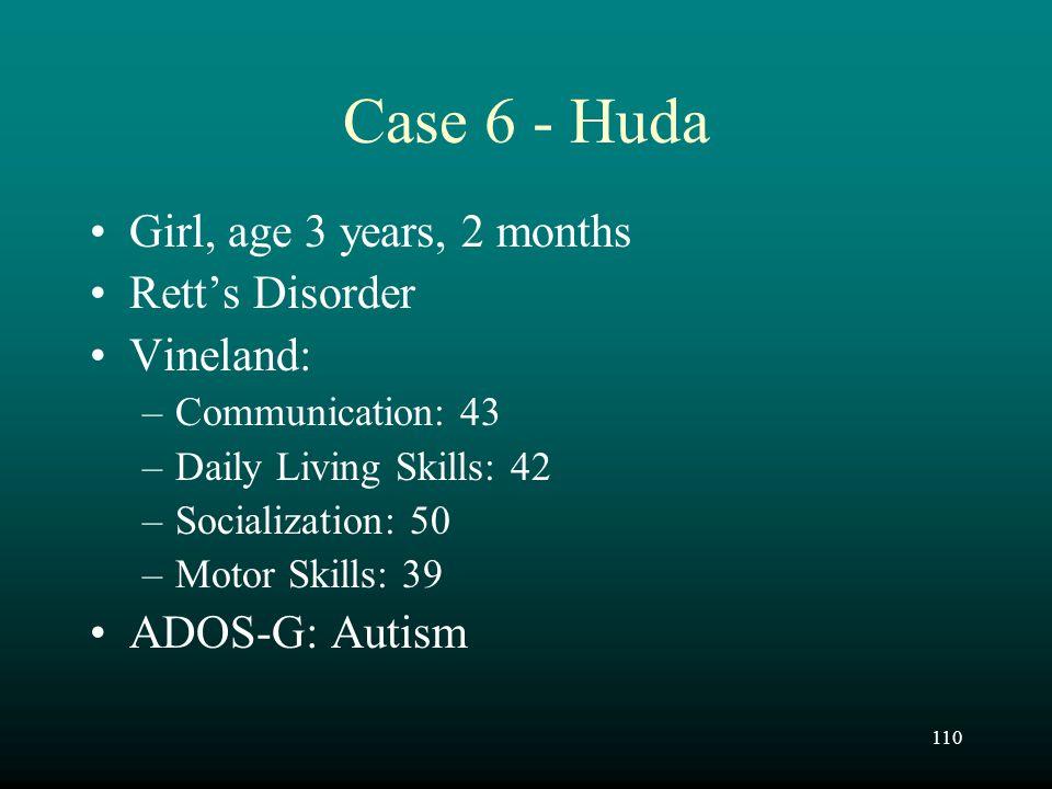 Case 6 - Huda Girl, age 3 years, 2 months Rett's Disorder Vineland: