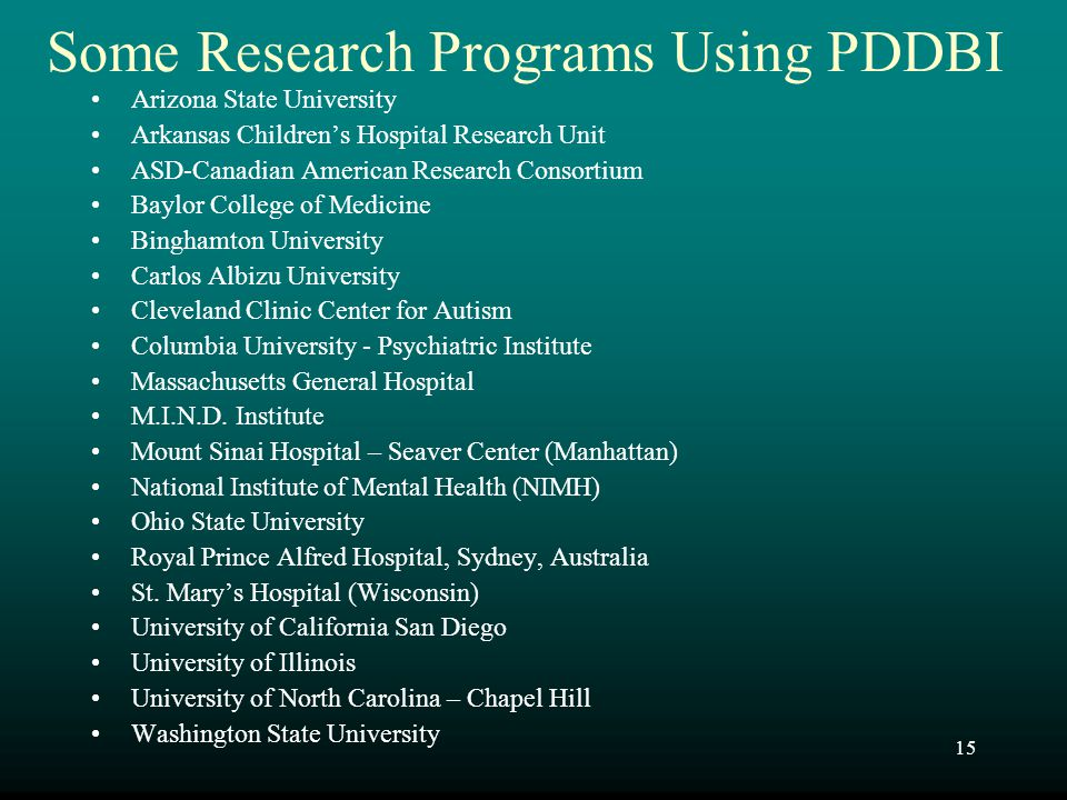Some Research Programs Using PDDBI