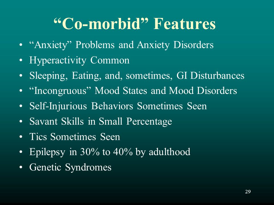 Co-morbid Features Anxiety Problems and Anxiety Disorders
