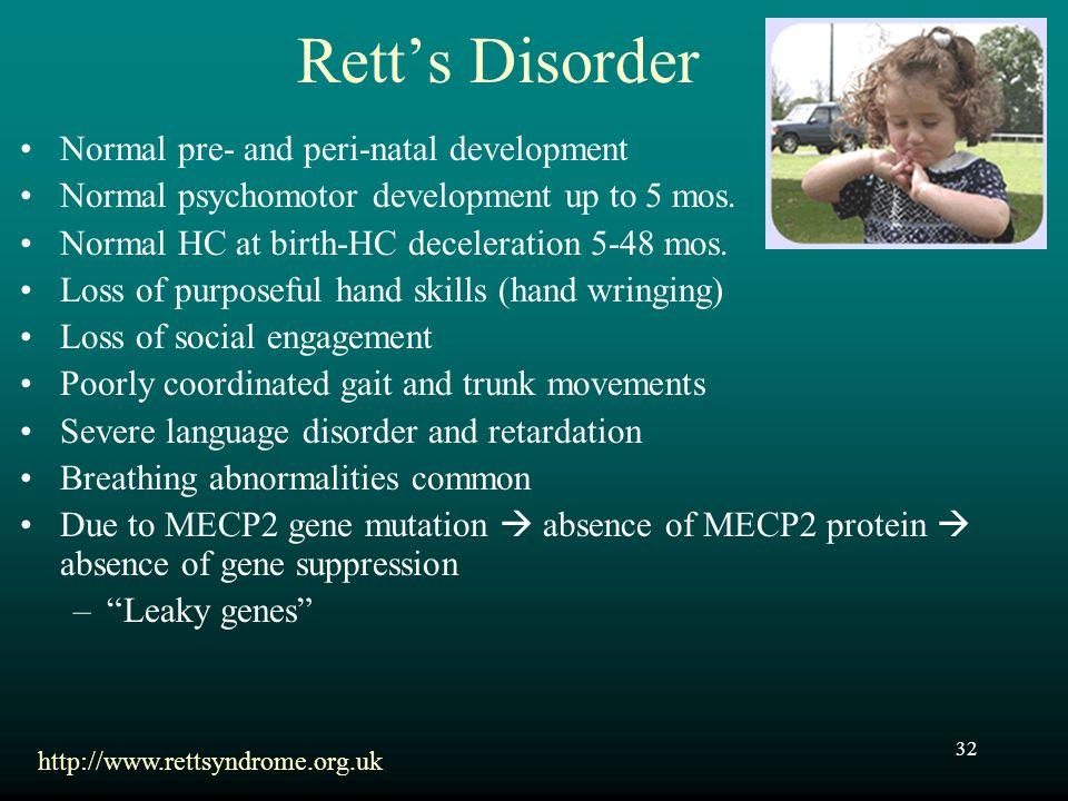 Rett's Disorder Normal pre- and peri-natal development