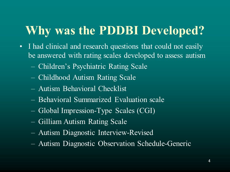 Why was the PDDBI Developed
