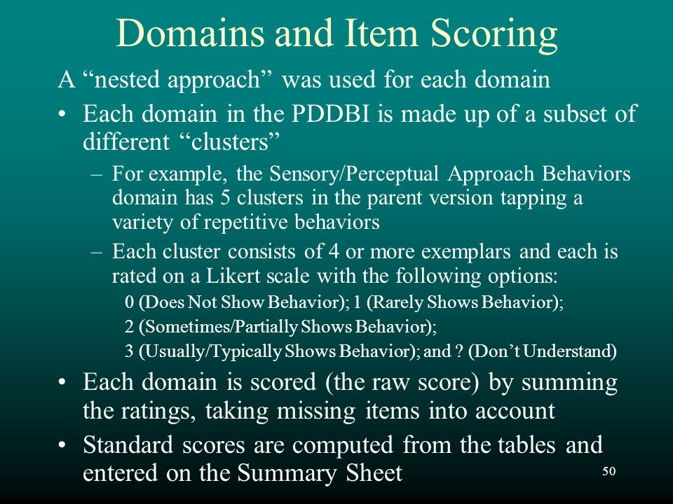 Domains and Item Scoring