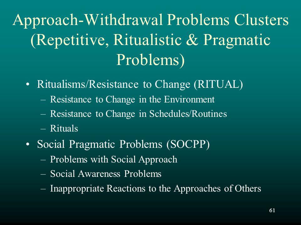 Approach-Withdrawal Problems Clusters (Repetitive, Ritualistic & Pragmatic Problems)