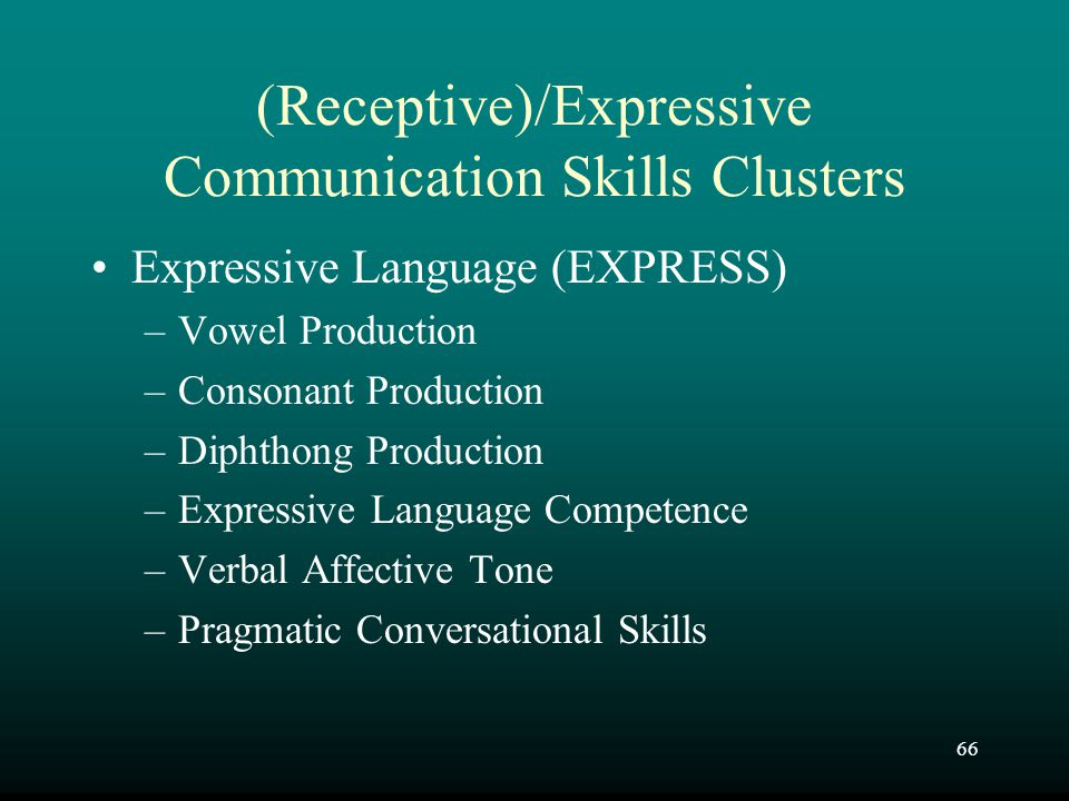 (Receptive)/Expressive Communication Skills Clusters